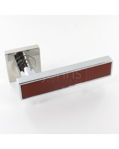 Torrino Square Rose Lever Handles - Chrome Light Brown Inlay