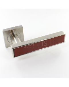 Torrino Square Rose Lever Handles - Satin Nickel Light Brown Leather Inlay