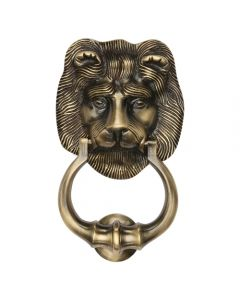 Traditional Lion Door Knocker - Antique Brass Finish