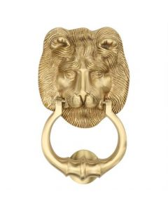 Traditional Lion Door Knocker - Polished Nickel Finish