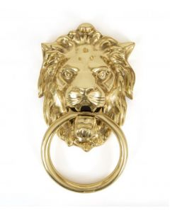 Lion's Head Door Knocker - Polished Brass Unlacquered