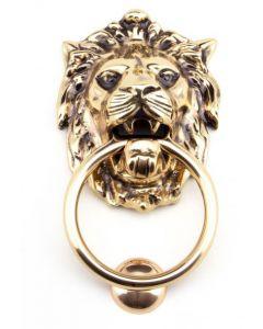 Lion's Head Door Knocker - Polished Bronze