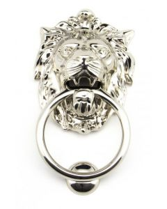 Lion's Head Door Knocker - Polished Nickel