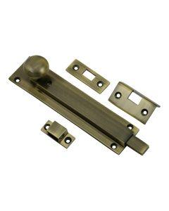 Locking Pattern Straight Design Door Bolt - Antique Brass