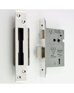 BS Rated - 5 Lever British Standard Kite Marked Mortice Sash Lock - Polished Stainless Steel - (Shiny Finish)