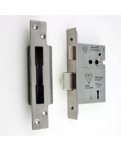 BS Rated - 5 Lever British Standard Kite Marked Mortice Sash Lock - Satin Stainless Steel