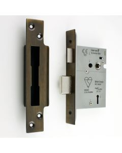 BS Rated - 5 Lever British Standard Kite Marked Mortice Sash Lock - Florentine Bronze - (Antique Finish)