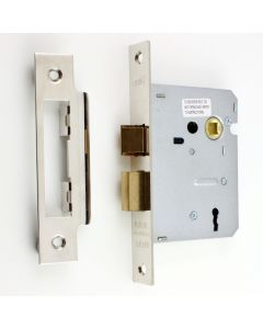 3 Lever Economy Mortice Sash Lock - Shiny Nickel Plated Finish