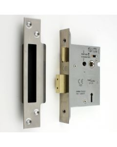 3 Lever Architectural Quality Mortice Sash Lock - Satin (Brushed) Stainless Steel