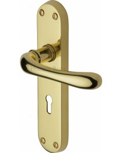 Luna Lever Door Handles On A Backplate - Polished Brass - Suitable For Use With FD30 / FD60 Fire Doors