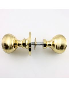 "Reeded Pattern ""Queen Anne Style"" Rim Knob Set - (For Use With Rim Locks) - Polished Brass"