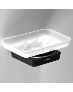 S6 - Soap Dish - Matt Black With Frosted Glass