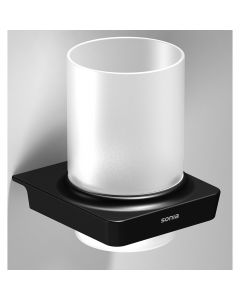S6 - Tumbler And Toothbrush Holder - Matt Black With Frosted Glass