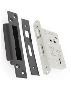 BS Rated - 5 Lever British Standard Kite Marked Mortice Sash Lock - Matt Black