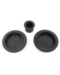 Round Design Flush Pull Handle Set For Sliding Pocket Doors - Matt Black