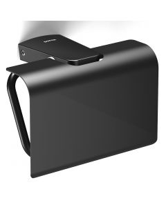 S6 - Toilet Roll Holder With Metal Flap - Matt Black