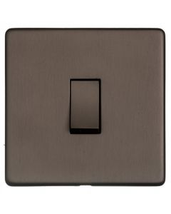 Studio Concealed Fix Plate Light Switch & Socket Range - Flat Screwless Plate With Rounded Edges - Matt Bronze