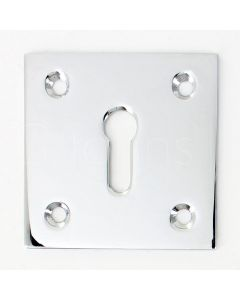 Modern Square Escutcheon - 50mm x 50mm - Polished Chrome