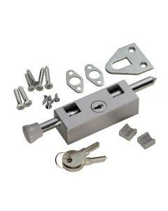 Multi Purpose Door Bolt - Key Lockable - 150mm x 30mm - Silver