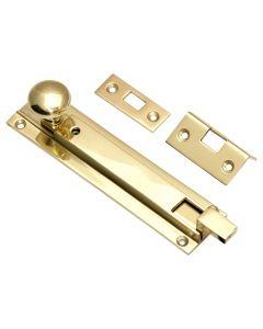 Locking Necked Door Bolt - Polished Brass