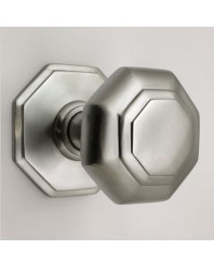 Traditional Octagonal Shape Centre Front Door Knob - Satin Chrome