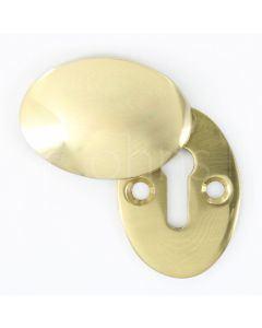 Oval Shape Covered Escutcheon - Polished Brass - Open