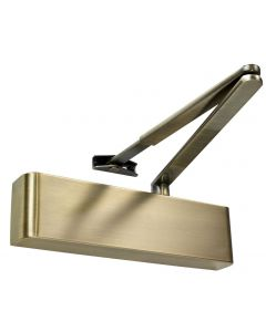 Slimline Overhead Door Closer With Backcheck - CE Marked - Fire Rated - Certifire Approved - EN1154 Power Size 2-5 - Adjustable Via Spring - 240mm x 69mm x 49mm - Antique Brass