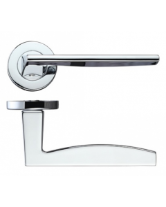 Pavo Round Rose Lever Door Handles - Screw On Rose - Polished Chrome - Pair