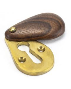Plain Standard Profile Covered Escutcheon - Face Fixed - Rosewood & Polished Brass Unlacquered