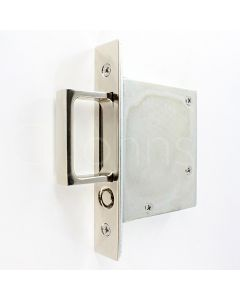 Pocket Door Pop Out Edge Pull - Spring Loaded - 75mm Case Depth - Polished Nickel
