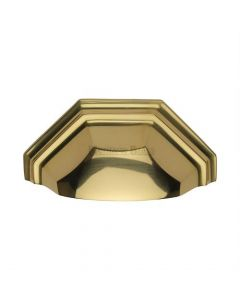 Shaped Pattern Drawer Pull Cup Handle - 104mm Width - Polished Brass
