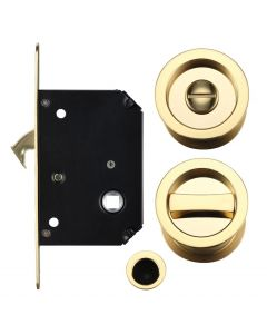 Bathroom Hook Lock For Sliding Pocket Doors - With Turn And Release - Polished Brass