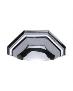 Shaped Pattern Drawer Pull Cup Handle - 104mm Width - Polished Chrome