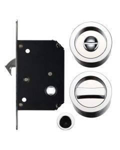 Bathroom Hook Lock For Sliding Pocket Doors - With Turn And Release - Polished Chrome