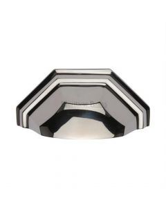 Shaped Pattern Drawer Pull Cup Handle - 104mm Width - Polished Nickel