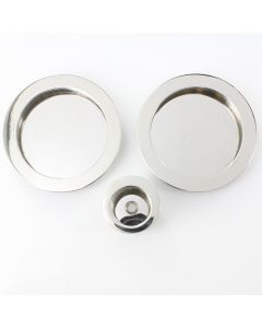 Round Design Flush Pull Handle Set For Sliding Pocket Doors - Polished Stainless Steel