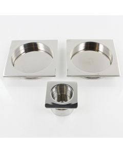 Square Design Flush Pull Handle Set For Sliding Pocket Doors - Polished Stainless Steel