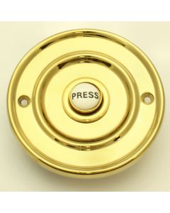 Traditional Round Flush Fit Bell Push - 76mm Diameter - Polished Brass