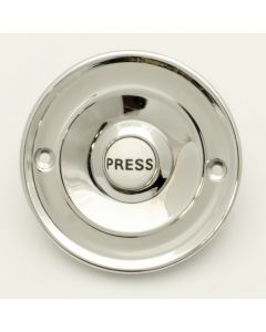 "Traditional Round Design Bell Push With Ceramic ""PUSH"" Button - 64mm Diameter - Polished Chrome"