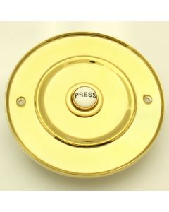 102mm Diameter Traditional Large Round Design Bell Push With White Porcelain PRESS Button - Polished Brass