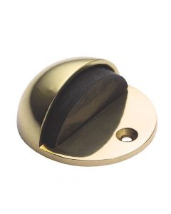 Hooded Pattern - Floor Mounted Door Stop - Polished Brass