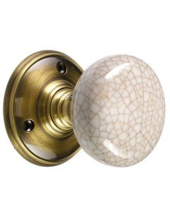 Mortice Door Knobs - Porcelain Ivory Crackle Knob / Florentine Bronze