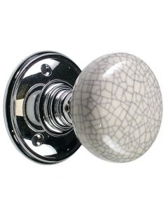 Mortice Door Knobs - Porcelain & Blue Crackle - Polished Chrome Rose