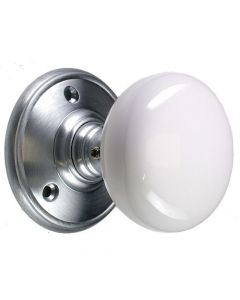 Mortice Door Knob Set - White Porcelain Knob - Satin Chrome Rose