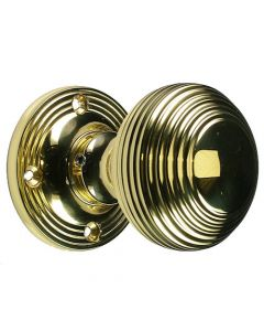 """Mortice Door Knobs - Reeded """"Queen Anne"""" Style - Polished Brass"""