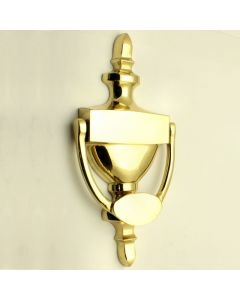 Traditional Pattern Urn Style Front Door Knocker - 202mm x 97mm - PVD Brass