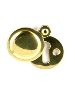 Plain Covered Escutcheon - (Key Hole Cover) - 32mm Diameter - Polished Brass