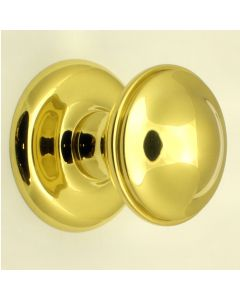 Centre Front Door Knob - Polished Brass - 66mm Diameter