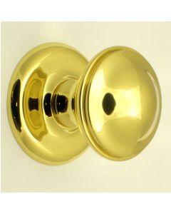 Centre Front Door Knob - Polished Brass - 66mm Diameter