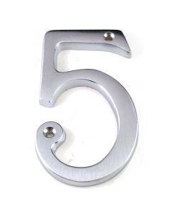 76mm High Screw Fix House Numbers - 0 - 9 (Matching 53mm A - D Available) - Satin Chrome